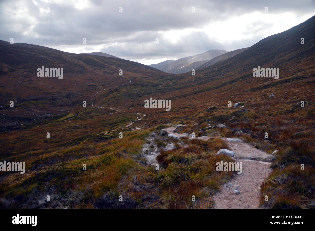 The Corbett Creag Mhor and the Footpath to Braemar via the Lairig an Laoigh from Glenmore Lodge. Scottish Highlands. Stock Photo
