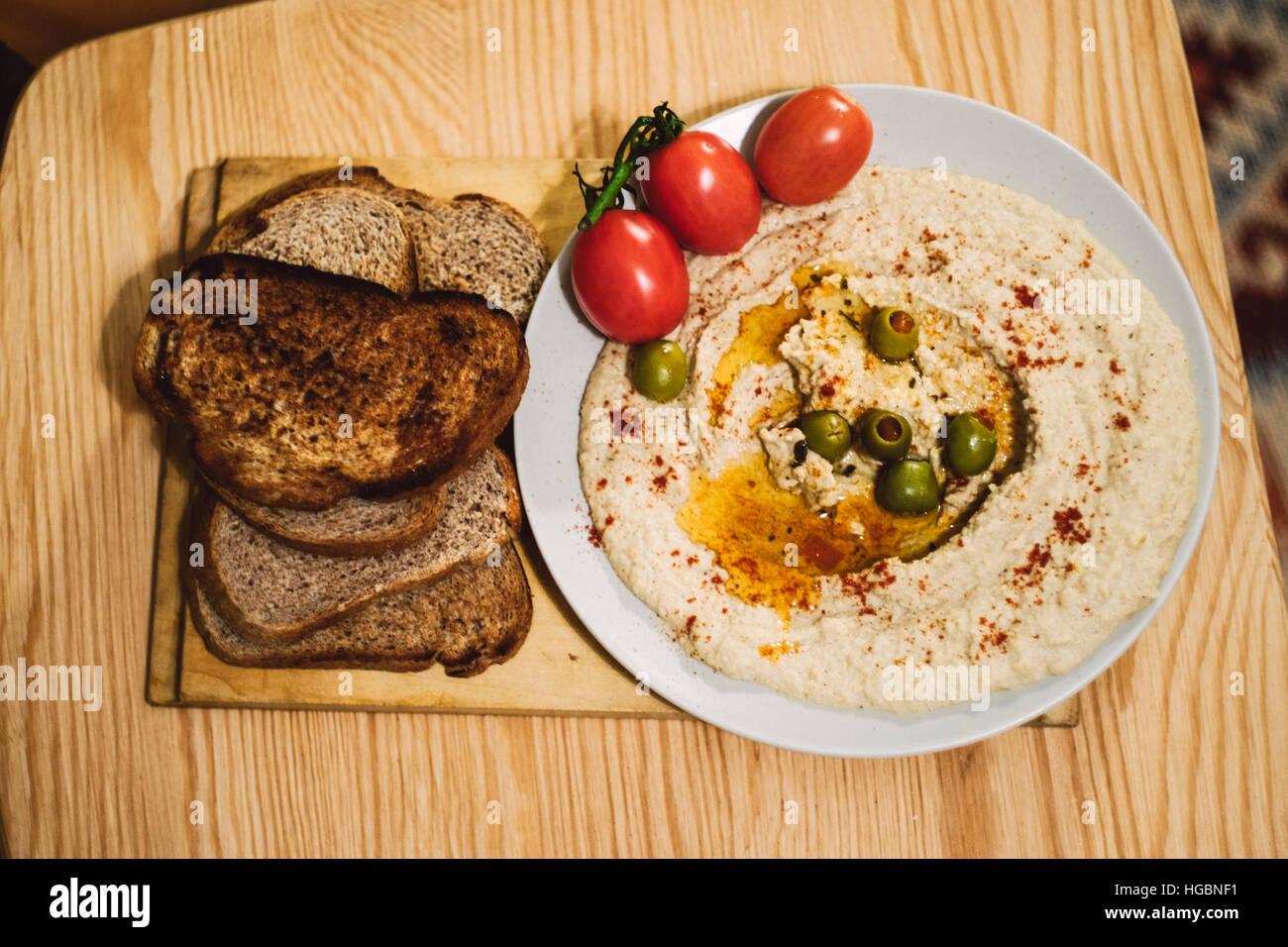 Homemade humus food. - Stock Image