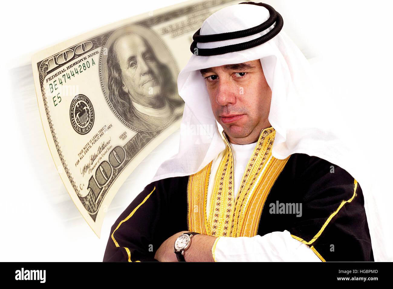 Sheikh with 100 U.S. dollar bill, composing shot Stock Photo