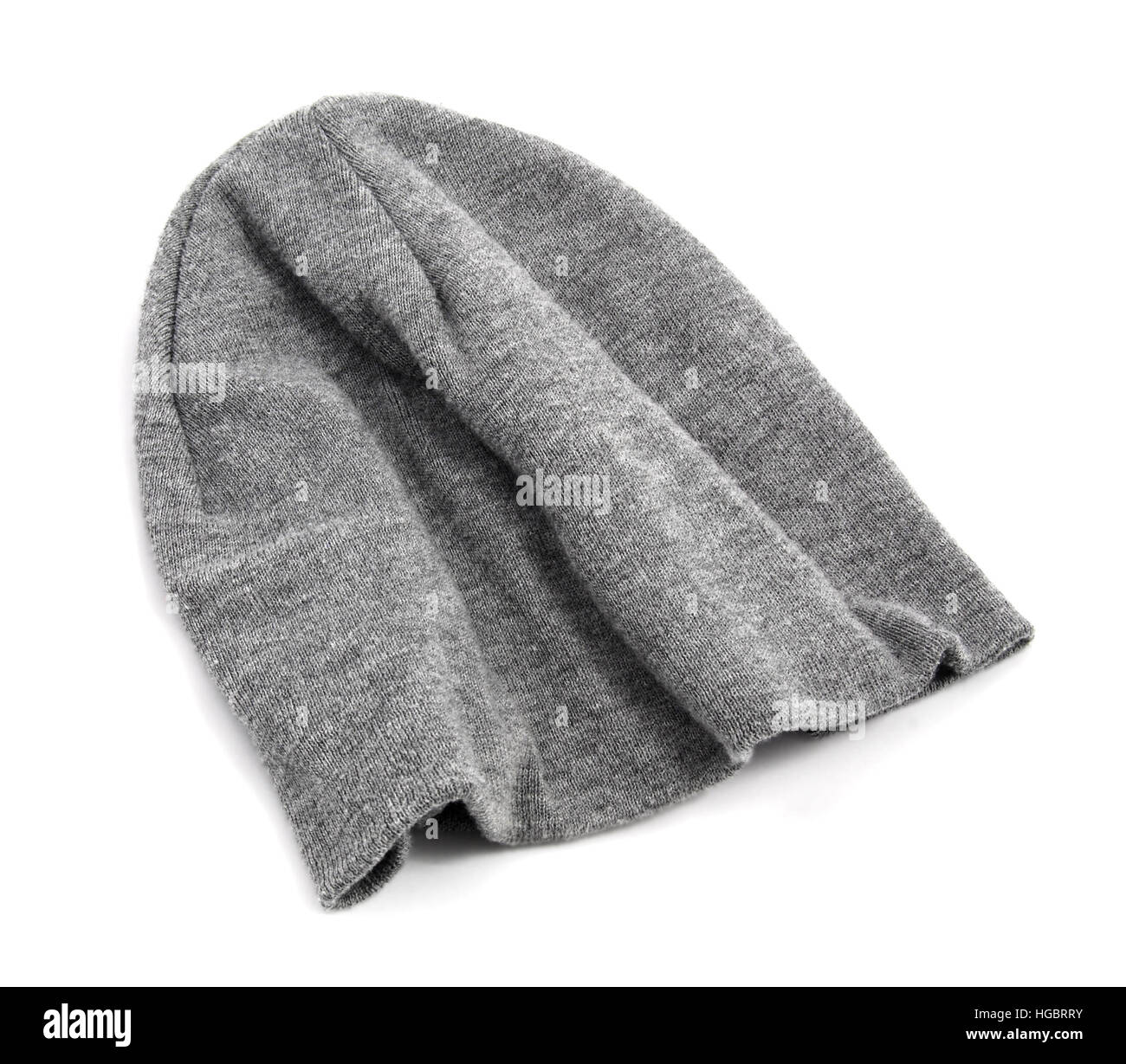 843f04119c64fa Isolated gray stocking cap or knit hat on white Stock Photo ...