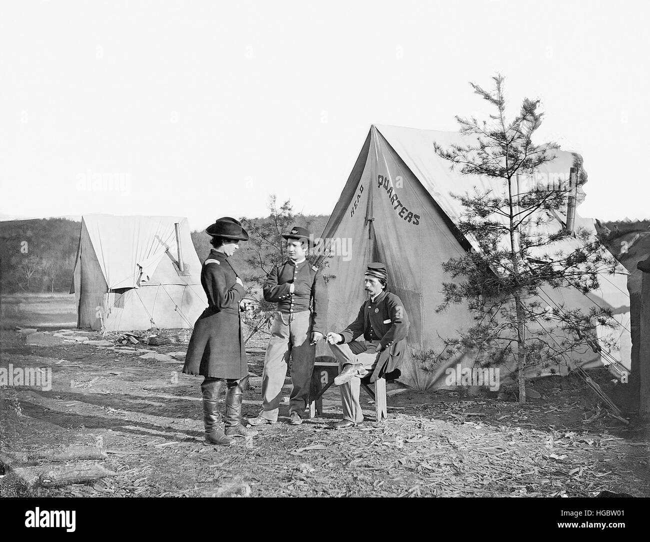 Lieutenant Colonel Michael C. Murphy and Officers at their encampment. - Stock Image