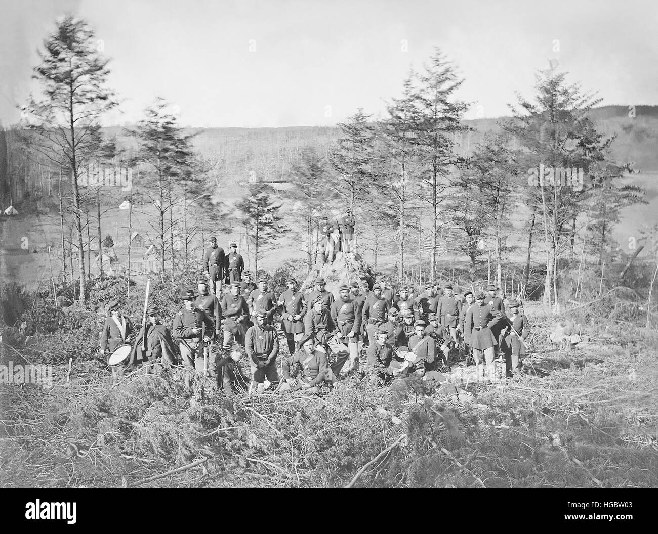 Group photo of the 170th New York Infantry during the American Civil War. - Stock Image