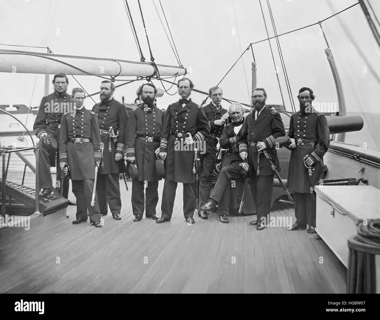 Admiral John A. Dahlgren and his officers during the American Civil War - Stock Image