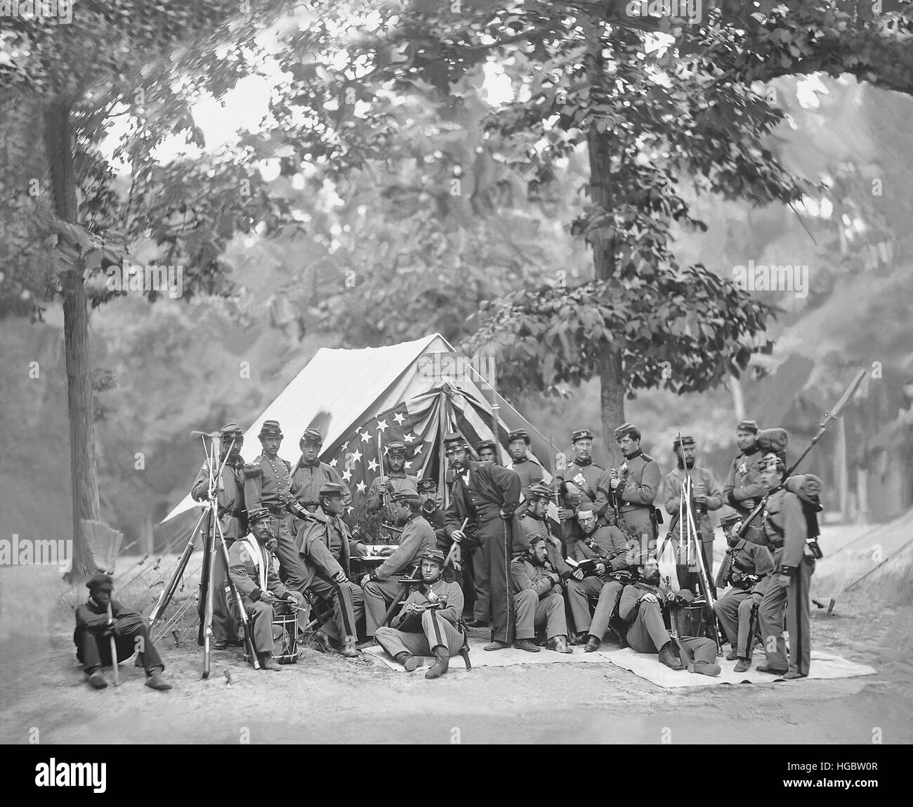 Engineer camp, 8th N.Y. State Militia, American Civil War. - Stock Image