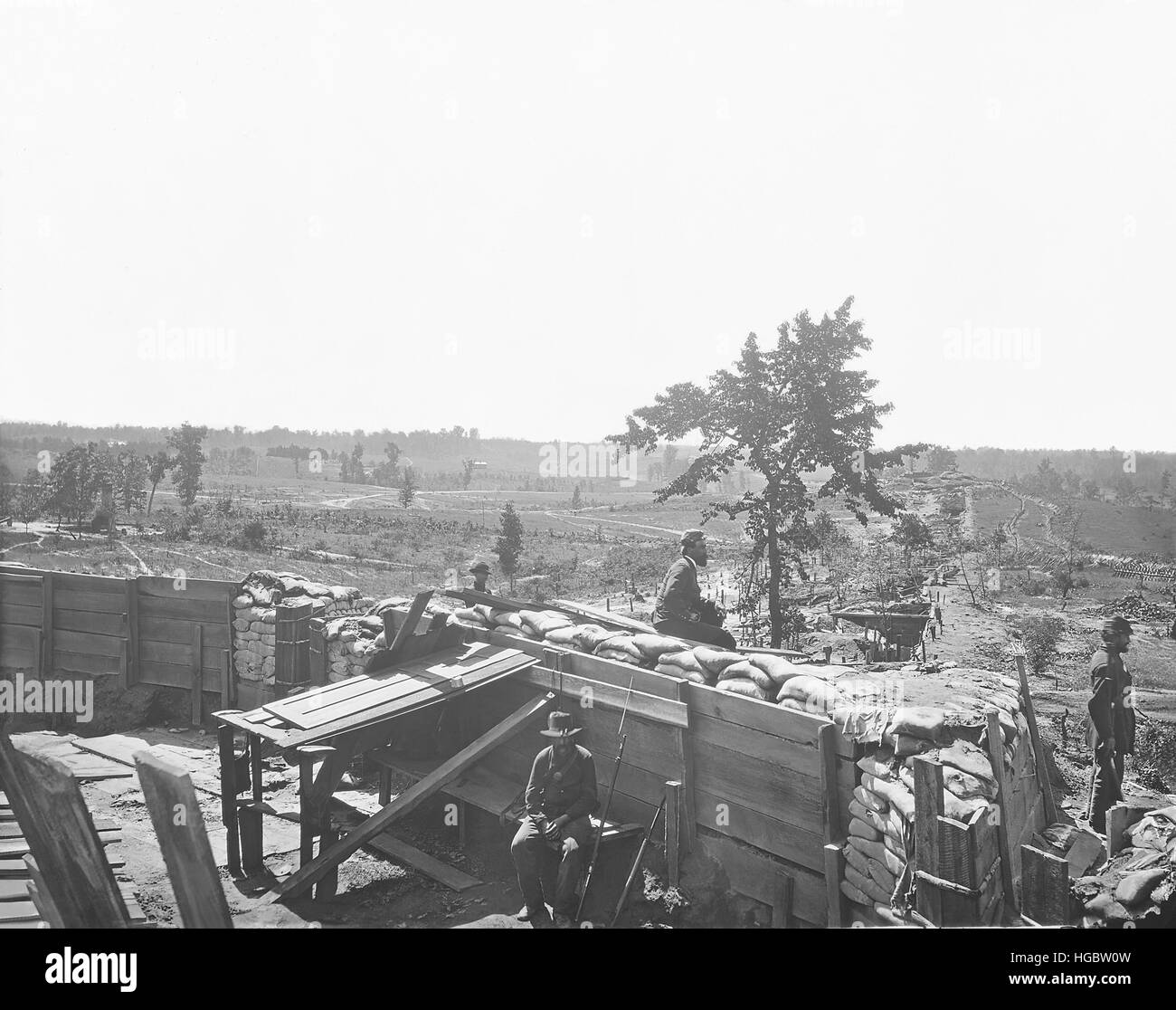 Fortifications in front of Atlanta, Georgia, during the American Civil War. - Stock Image