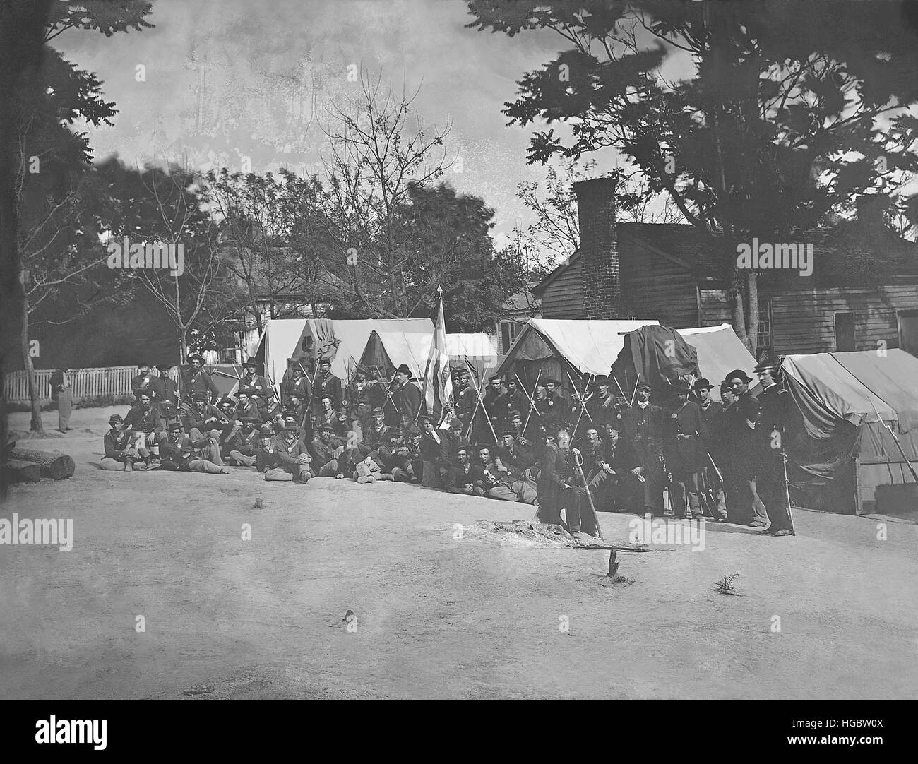 Infantry company group photo during the American Civil War. - Stock Image