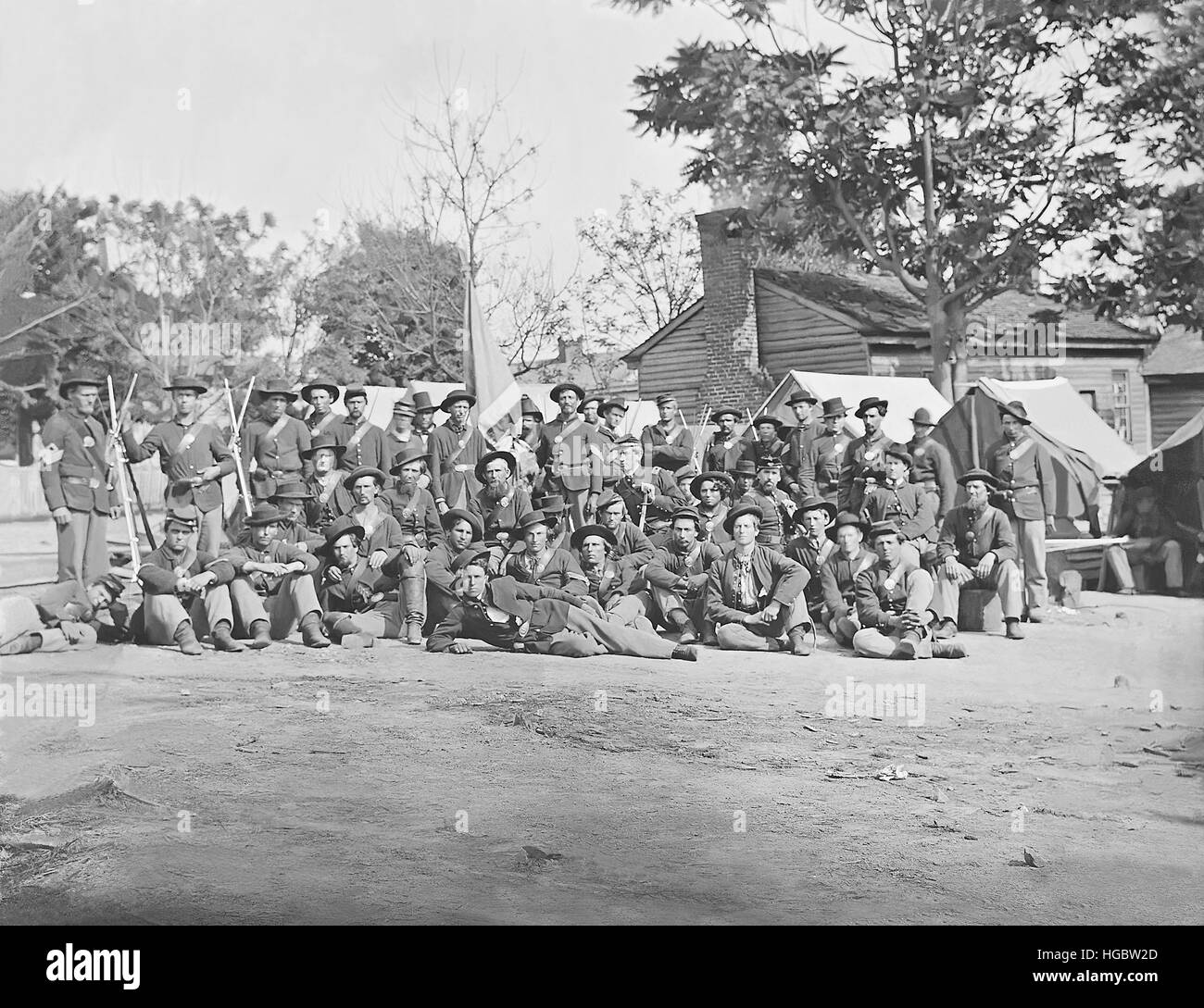 Group photo of the 44th Indiana Infantry during the American Civil War. - Stock Image