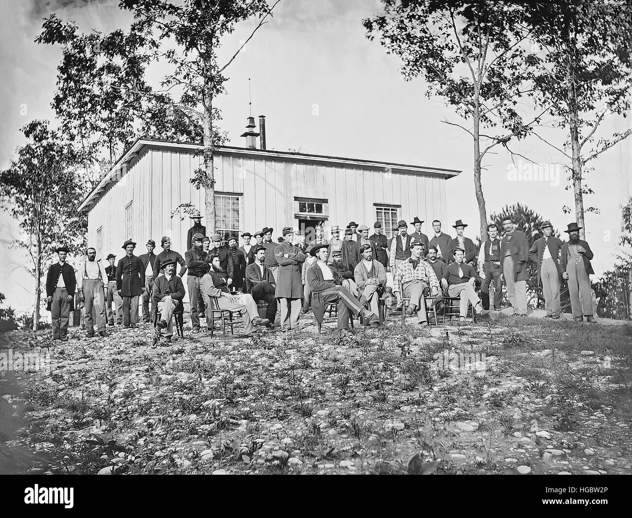 Group of soldiers at camp during American Civil War. - Stock Image
