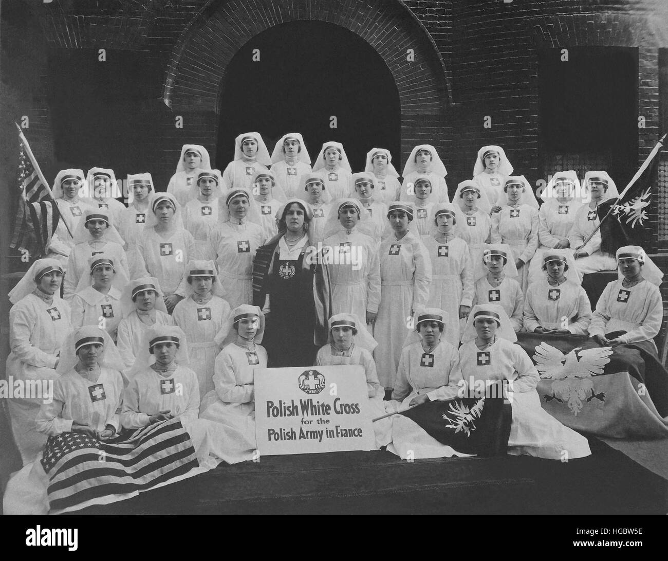 Group of nurses from the Polish White Cross. - Stock Image