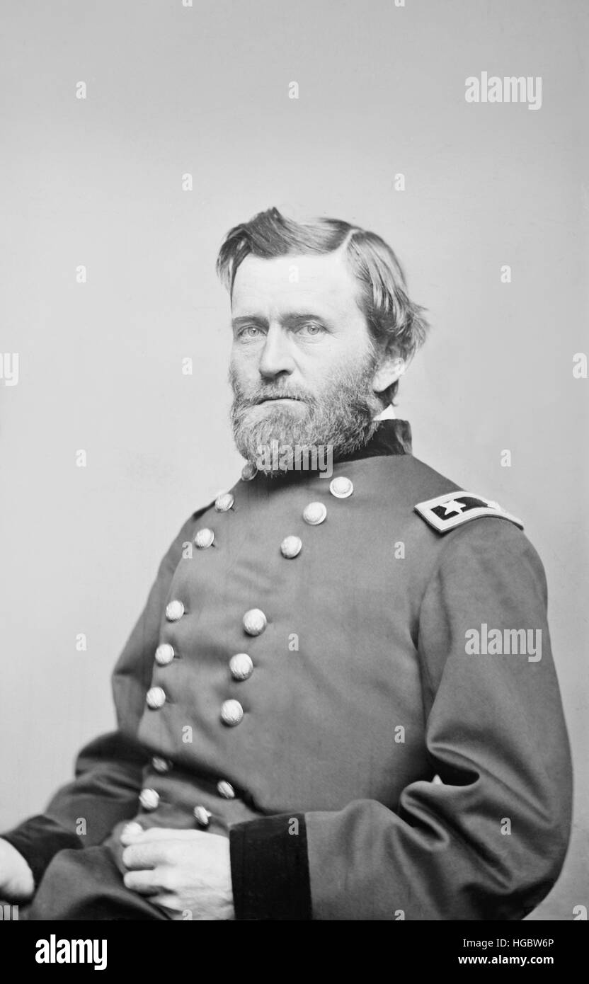 General Ulysses S. Grant of the Union Army, circa 1860. - Stock Image