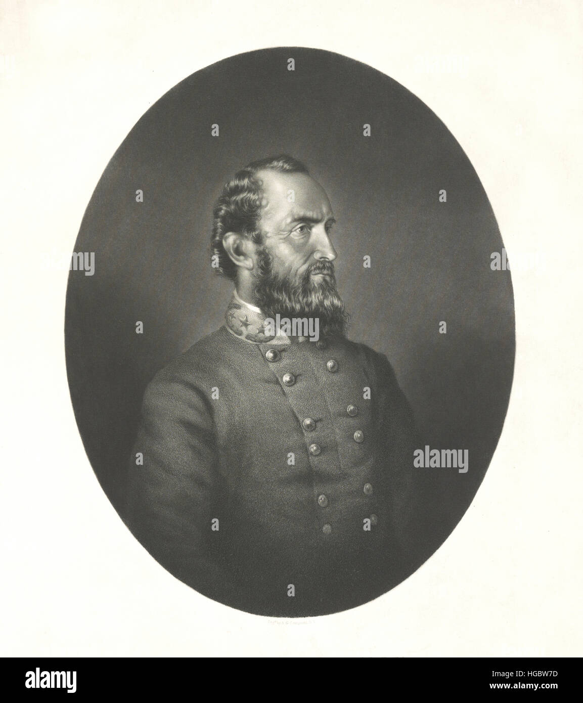 Portrait of Thomas Stonewall Jackson of the Confederate States Army. - Stock Image