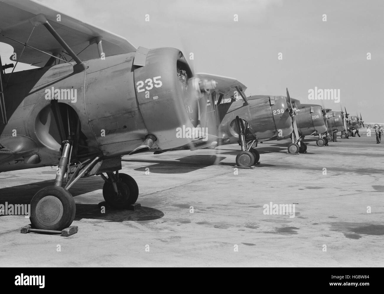 U.S. Navy F3F fighter planes lined up and eager for flight, Corpus Christi, Texas, 1942. - Stock Image