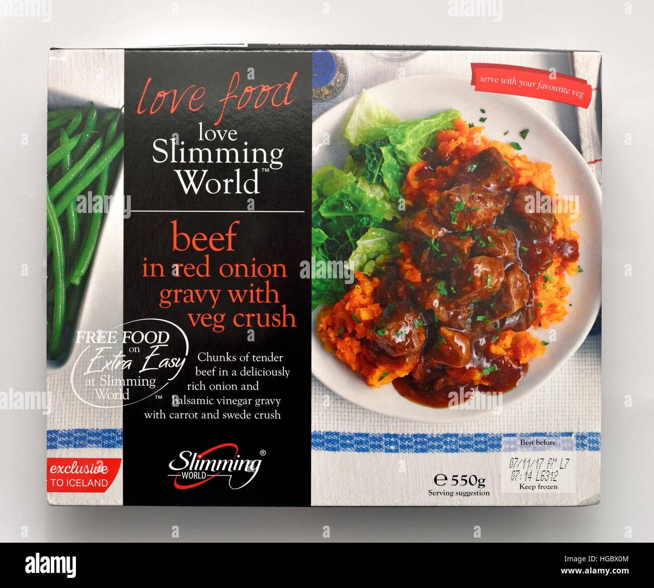 Slimming world beef in red onion gravy with veg crush - Stock Image