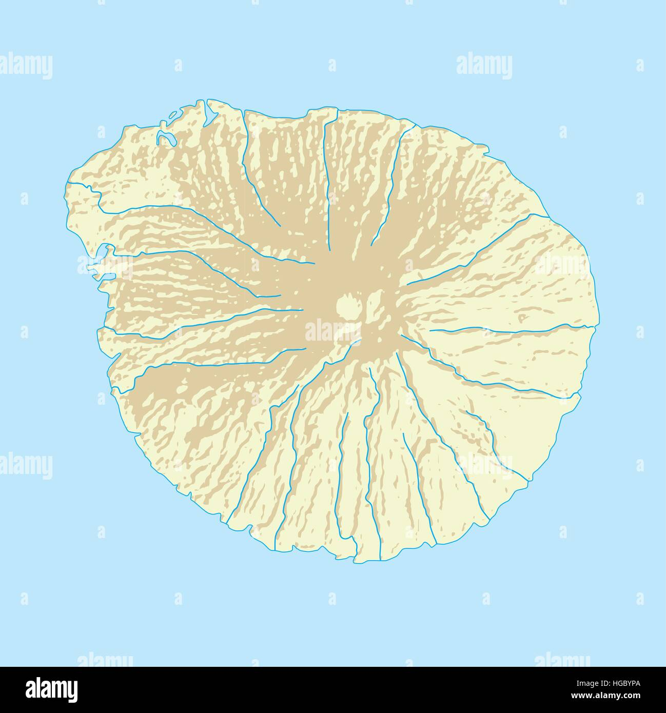 Picture of: Imaginary Volcanic Island Map With Coast And Rivers Stock Vector Image Art Alamy