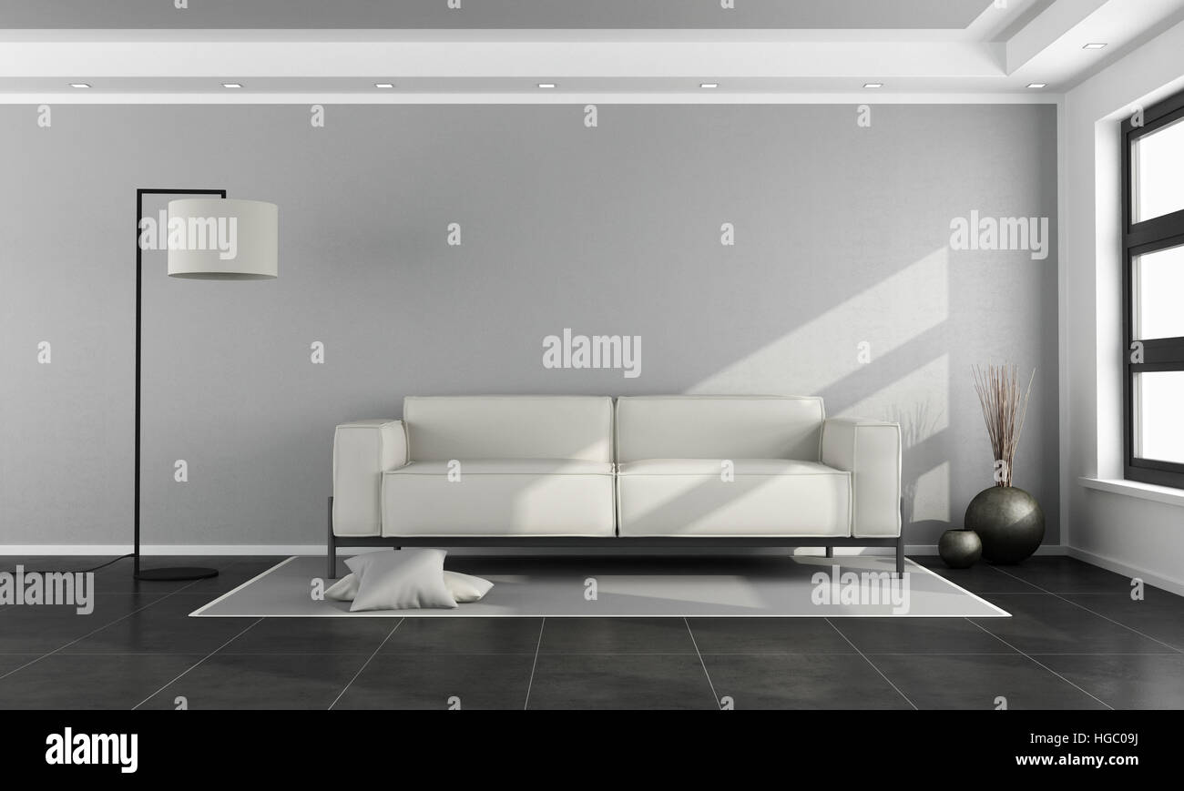 Minimalist Living Room With White Sofa Gray Wall And Black