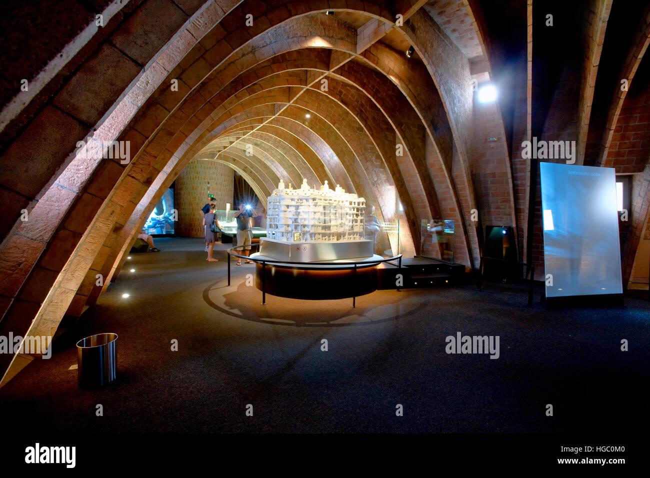 The 'Espai Gaudi' in the attic of 'La Pedrera'  in Barcelona - Stock Image