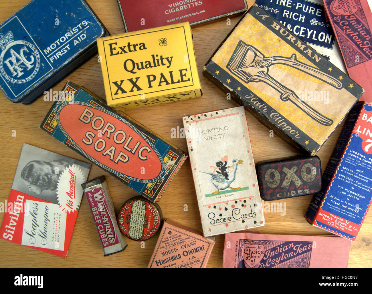 A selection of retro/vintage packaging for various brands from the early to mid-20th century – including cosmetics, - Stock Image