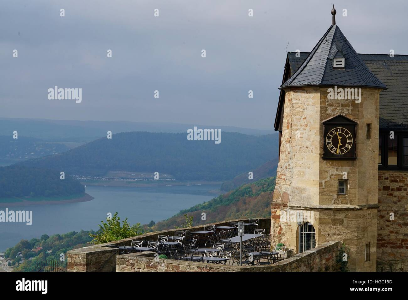 Edersee at the castle of Waldeck, Germany - Stock Image