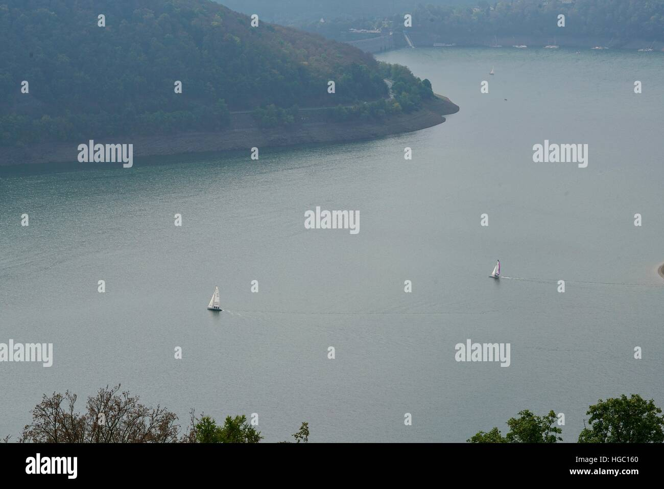 view from the castle of Waldeck to the Edersee - Stock Image