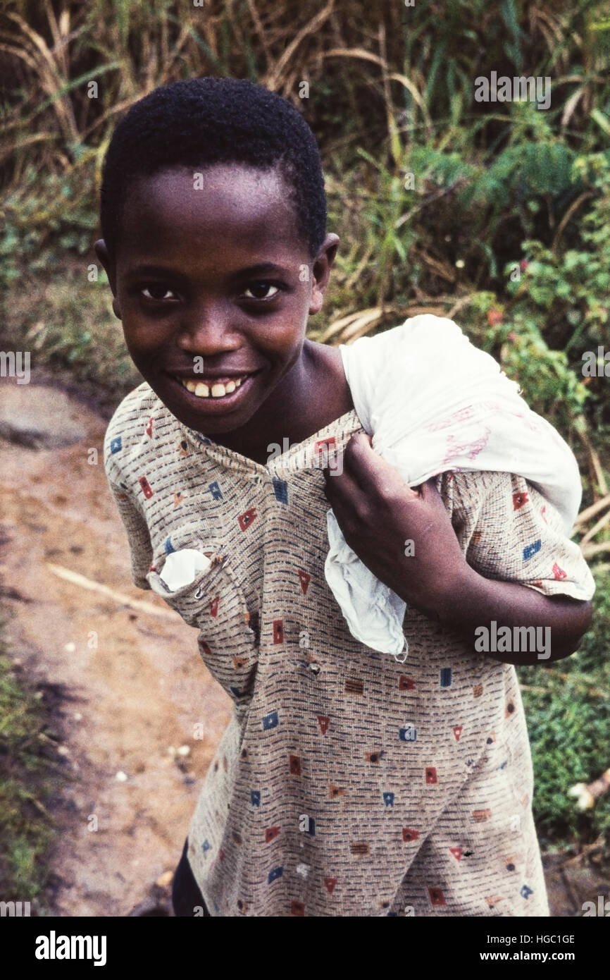 A happy young boarder from Jaiama Nimi Koro Secondary School, Sierra Leone, in 1962 - Stock Image