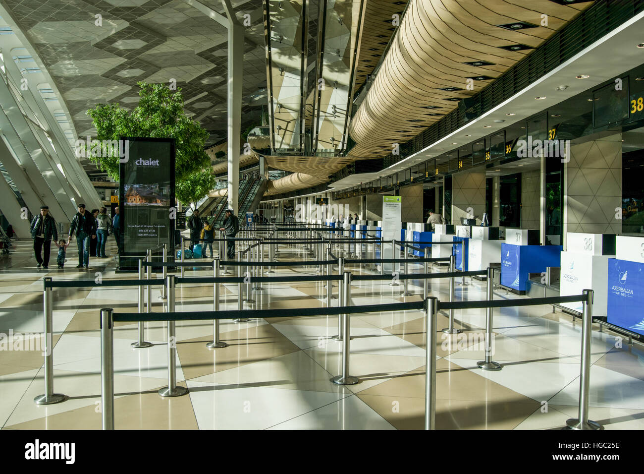 Heydar Aliyev International Airport interior Baku, Azerbaijan - Stock Image
