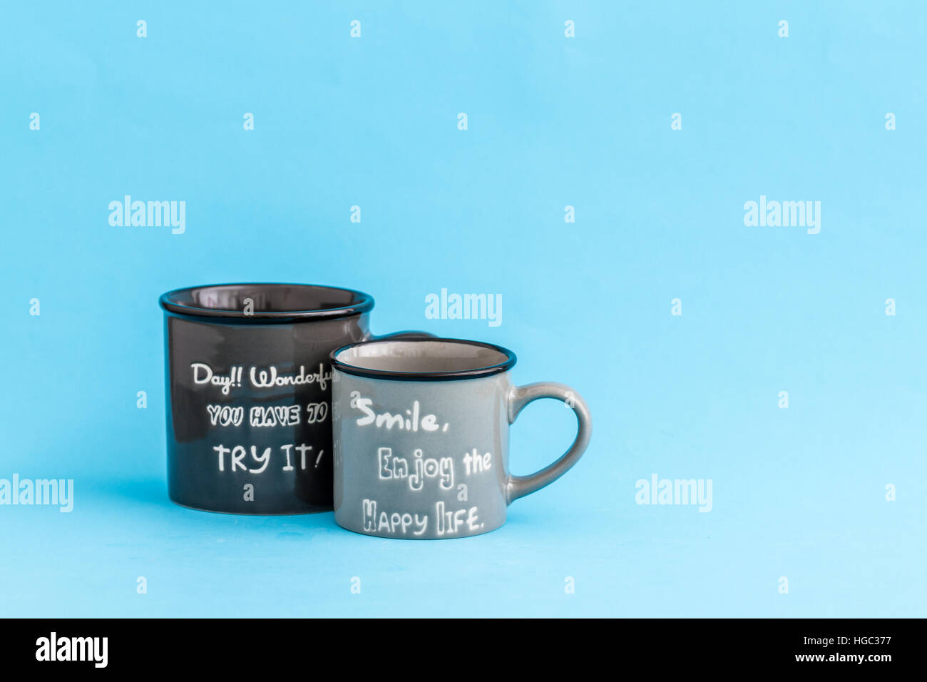 Creative Cute Coffee Mugs On Blue Background With Copy Space Stock Photo Alamy