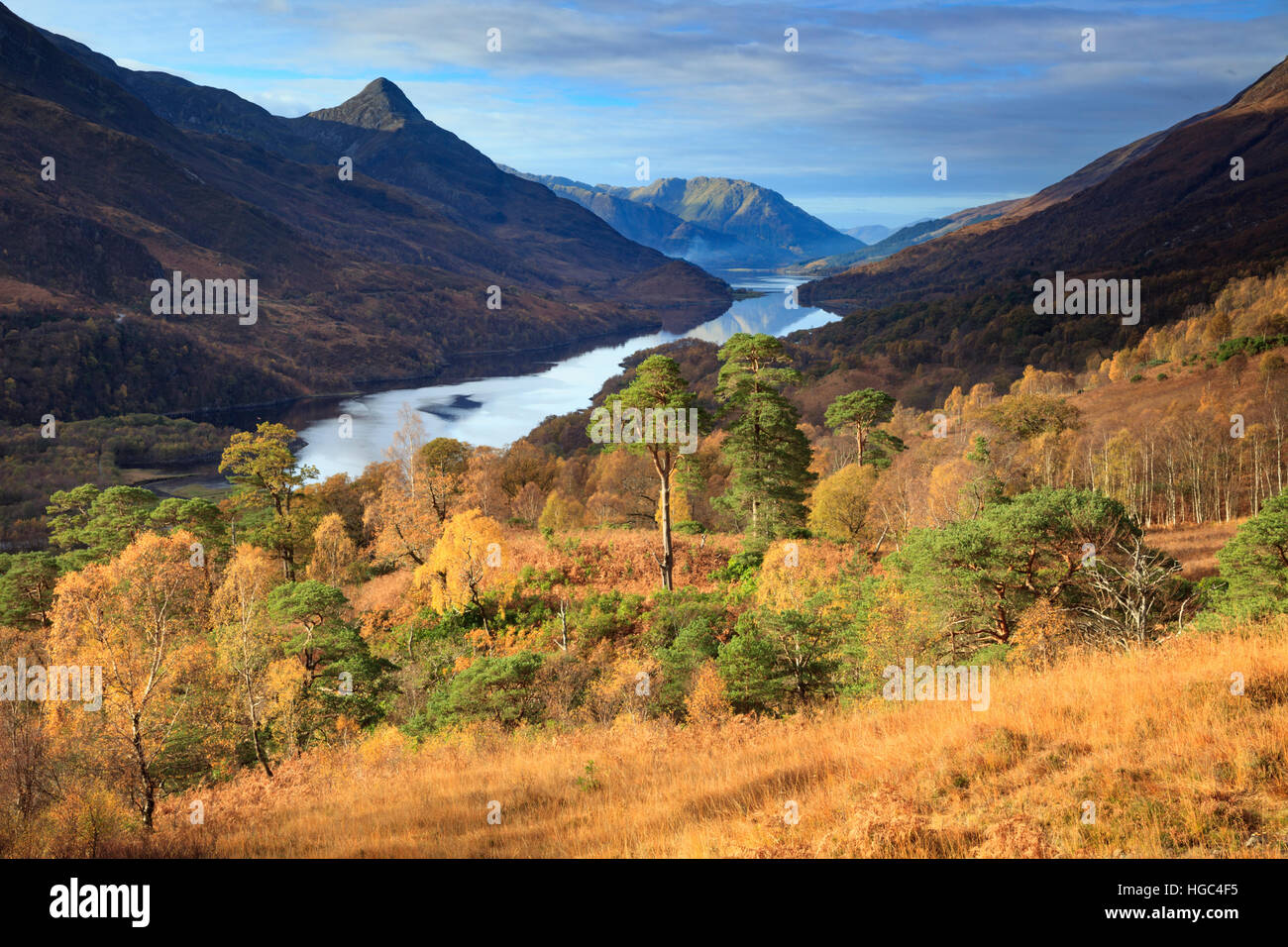 The Pap of Glen and Loch Leven captured from the footpath to Mamore Lodge. - Stock Image
