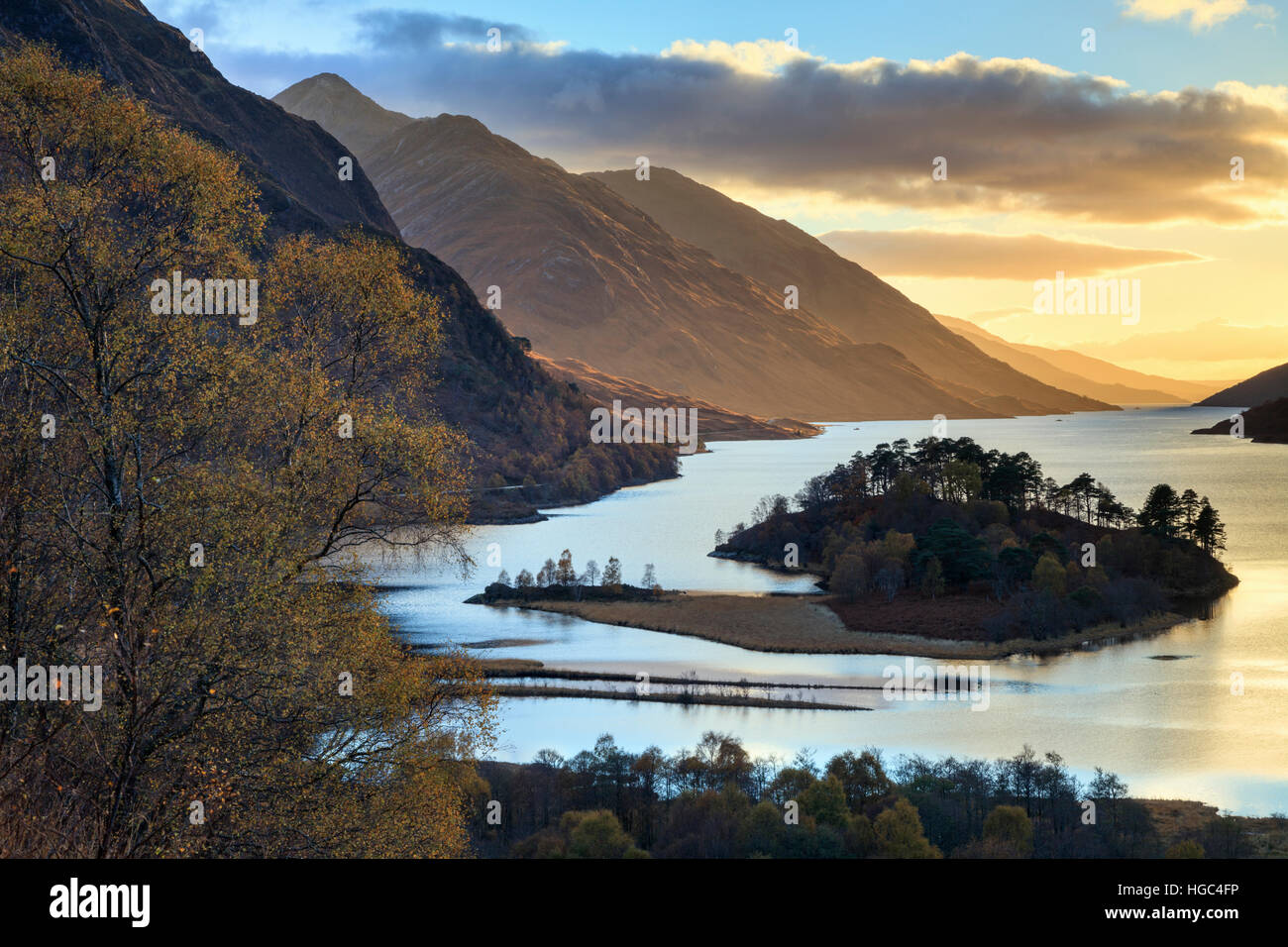 Loch Shiel at Glenfinnan in the Scottish Highlands. Stock Photo