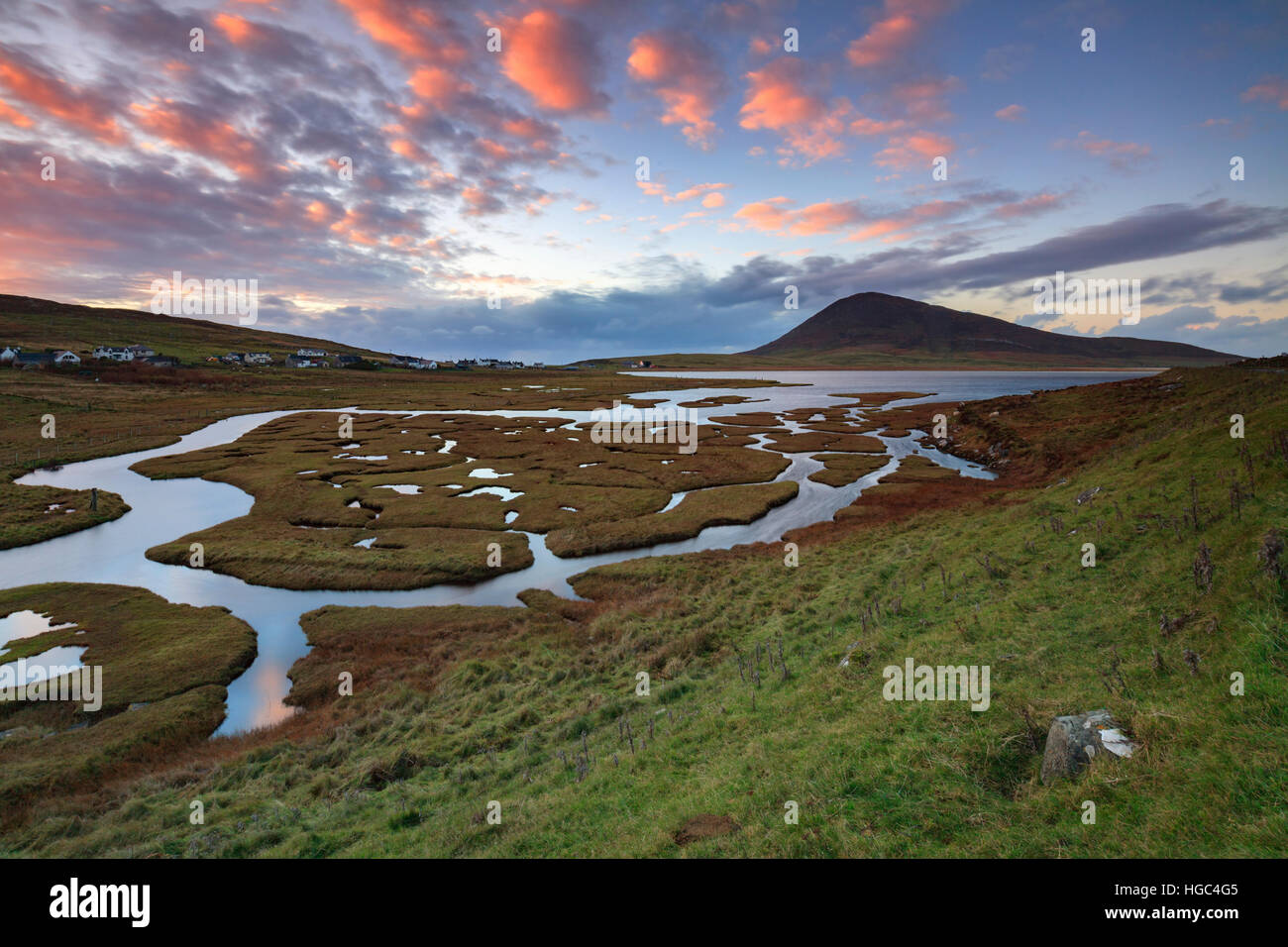 Sunset at Northton (Tacbh Tuath) Salt Marsh on the Isle of Harris - Stock Image