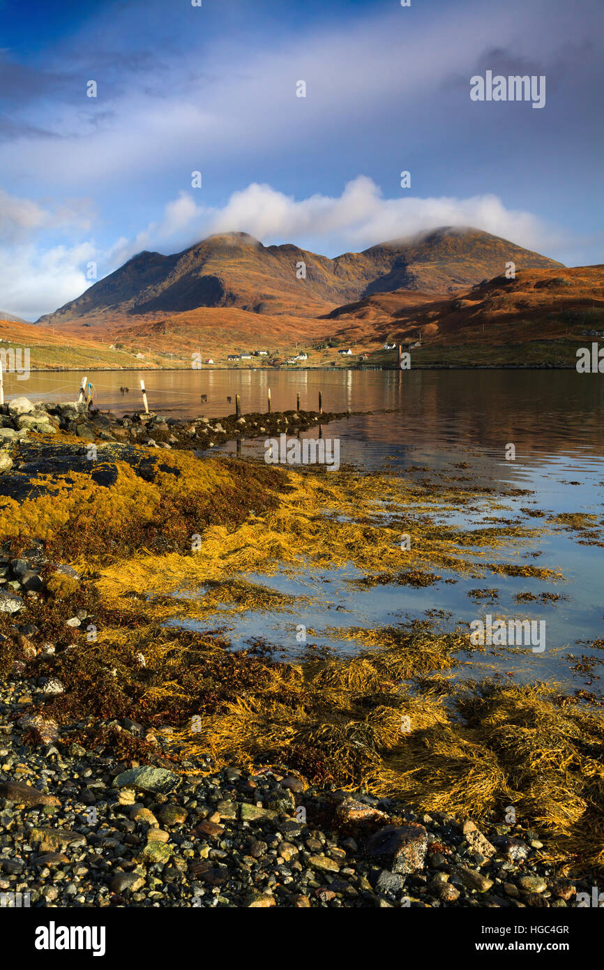 An Cliseam on North Harris reflected in Loch a Siar, Stock Photo