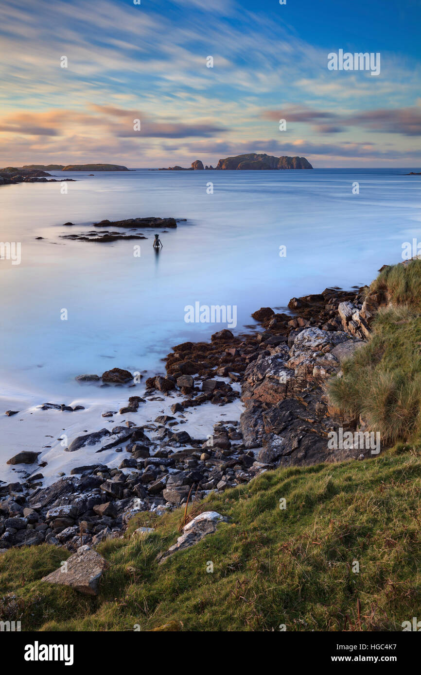 The Bosta Bell in Bosta Bay on Great Bernera in the Outer Hebrides captured from the cliff top above the beast. - Stock Image