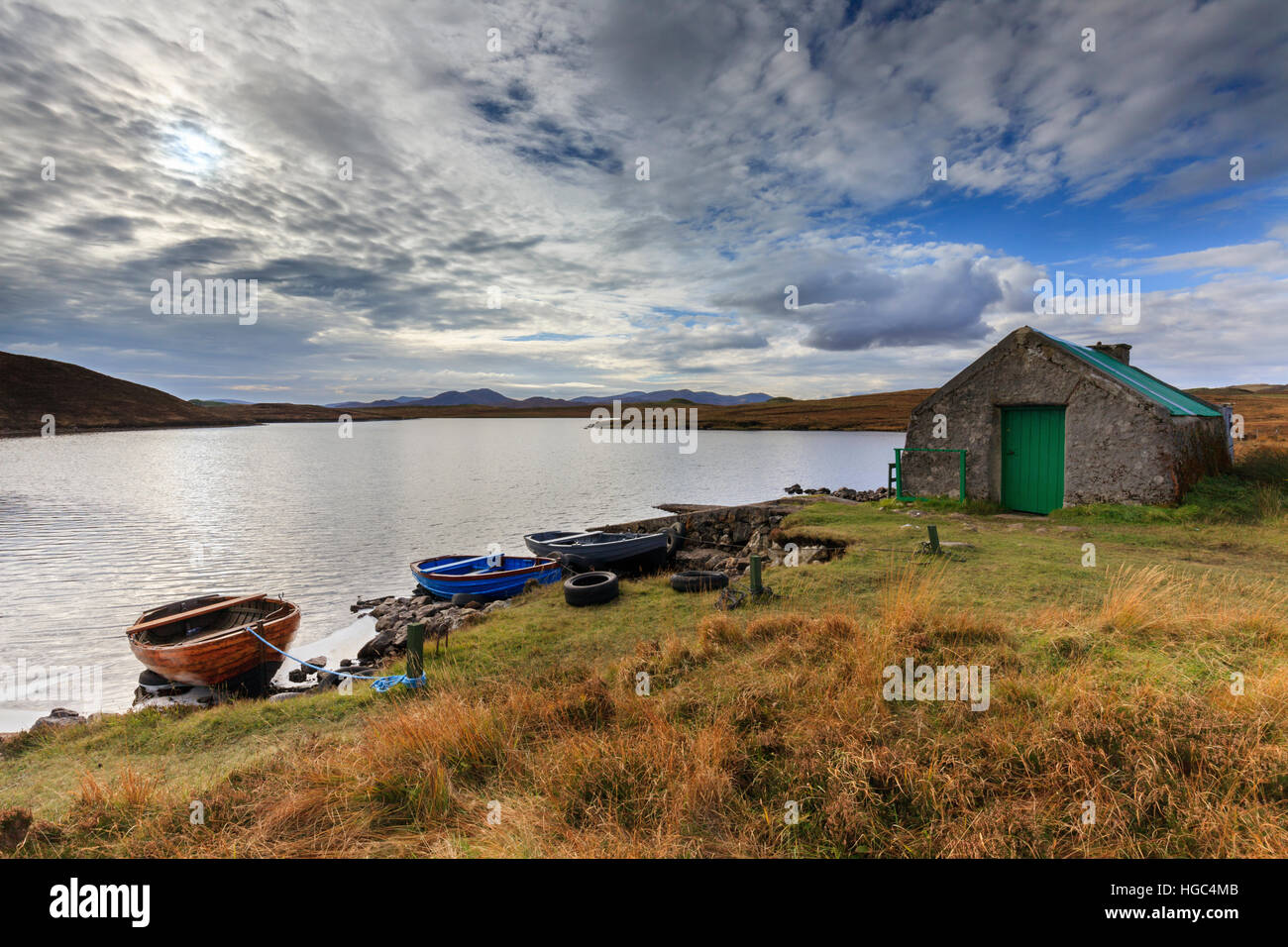 Loch Bhaltois on the Isle of Harris in the Outer Hebrides. Stock Photo