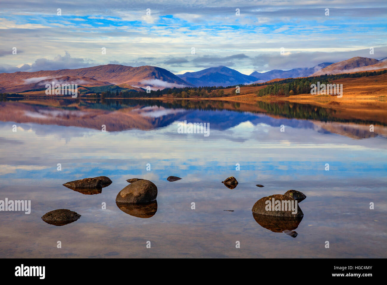 Reflections in Loch Tulla in The Scottish Highlands. - Stock Image