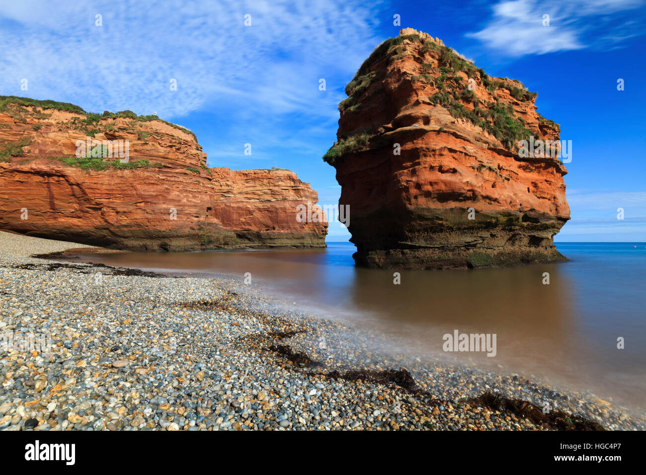 A sandstone sea stack at Ladram Bay in South East Devon. - Stock Image