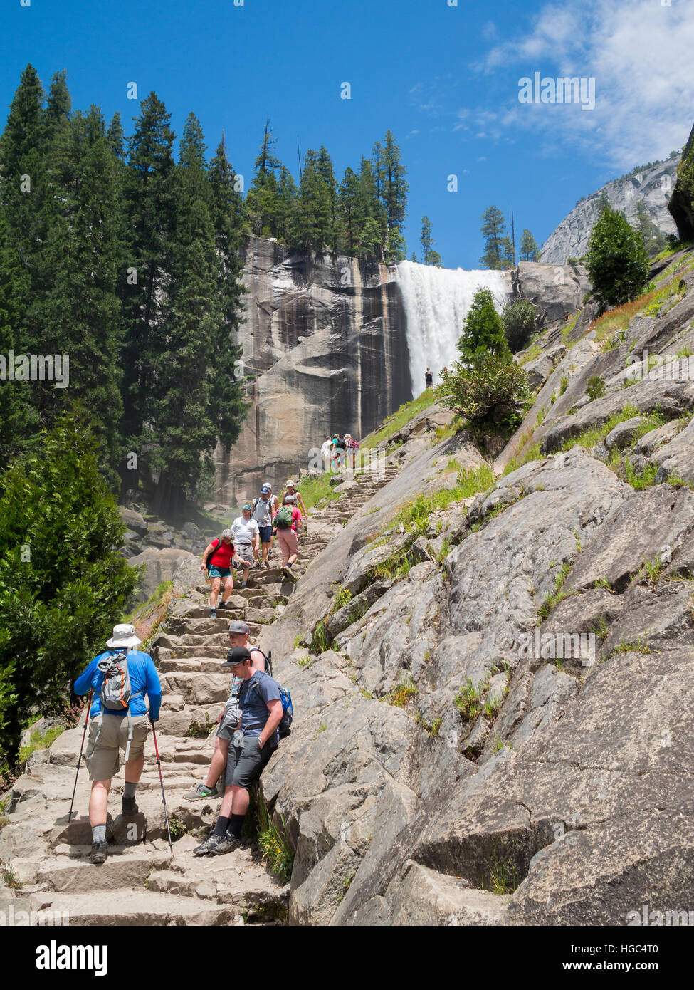Going up Yosemite National Park High Sierra Lop Trail - Stock Image