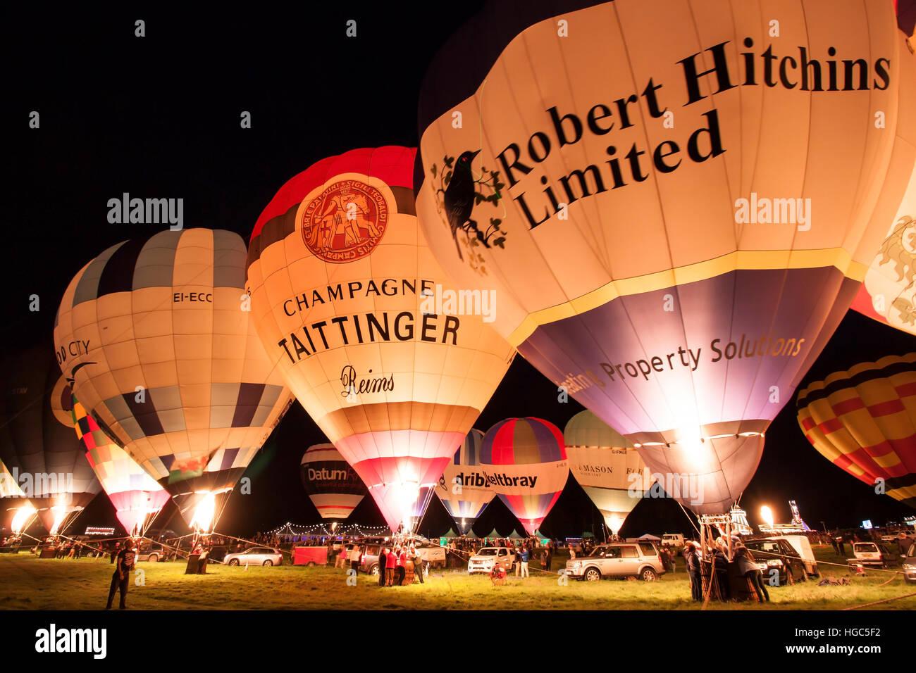 Bristol International Balloon Fiesta 2016 Night Glow Stock Photo