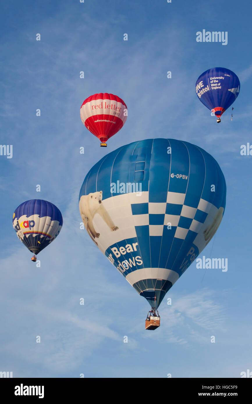G-OPBW Cameron Hot Air Balloon of Polar Bear Windows at Bristol International Balloon Fiesta 2016 Stock Photo