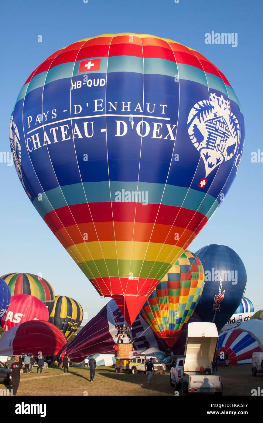 HB-QUD Chateau D'Oex Cameron Hot Air Balloon at Bristol International Balloon Fiesta 2016 Stock Photo
