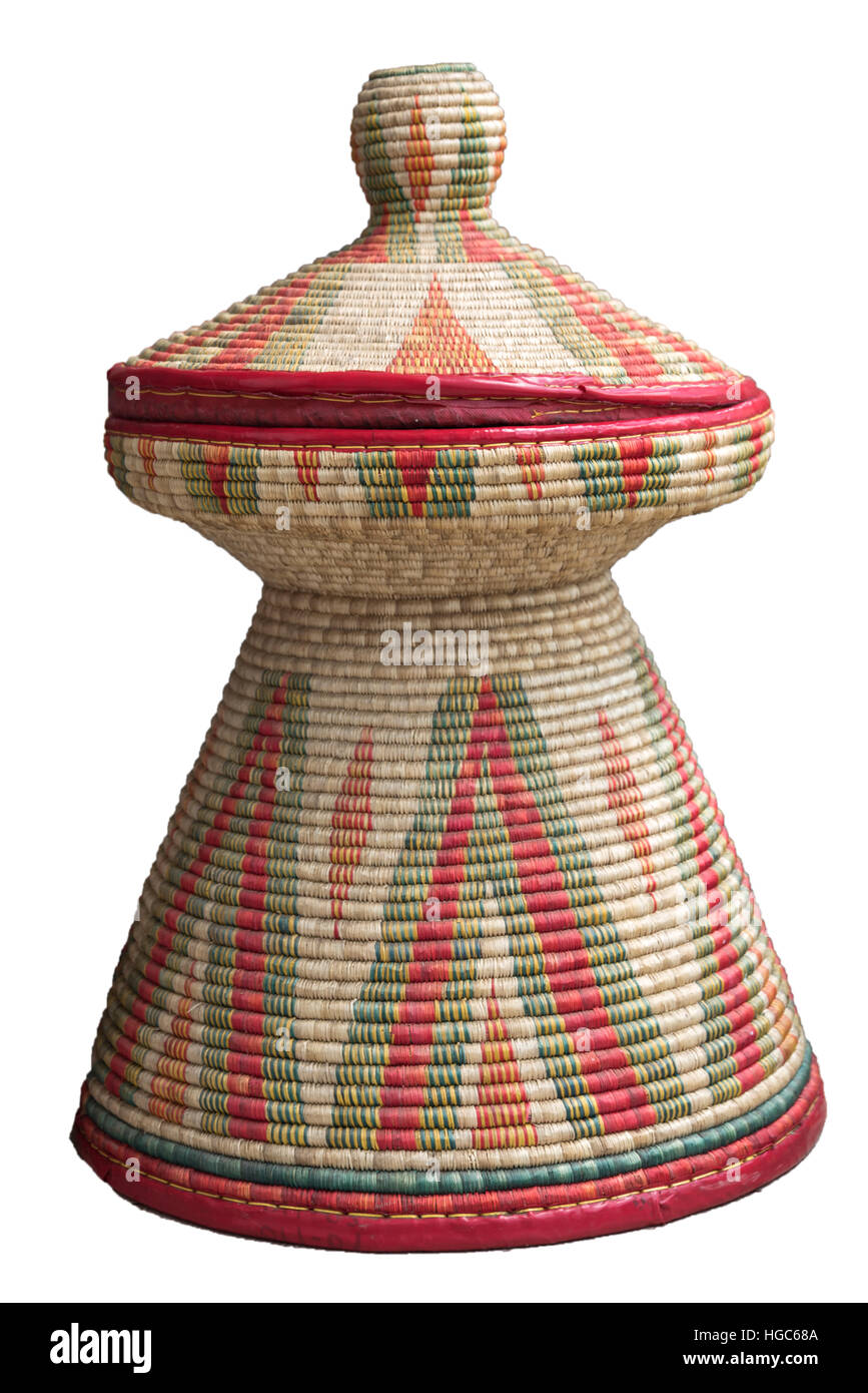Ethiopian Food Injera Basket - Stock Image
