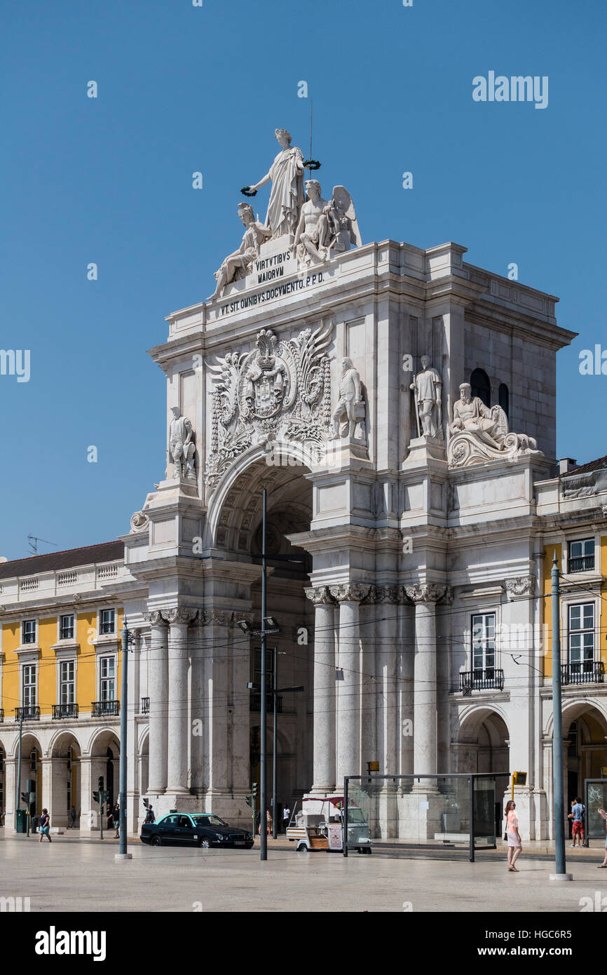 The Rua Augusta Arch is a stone, triumphal arch-like, historical building and visitor attraction in Lisbon, Portugal. - Stock Image