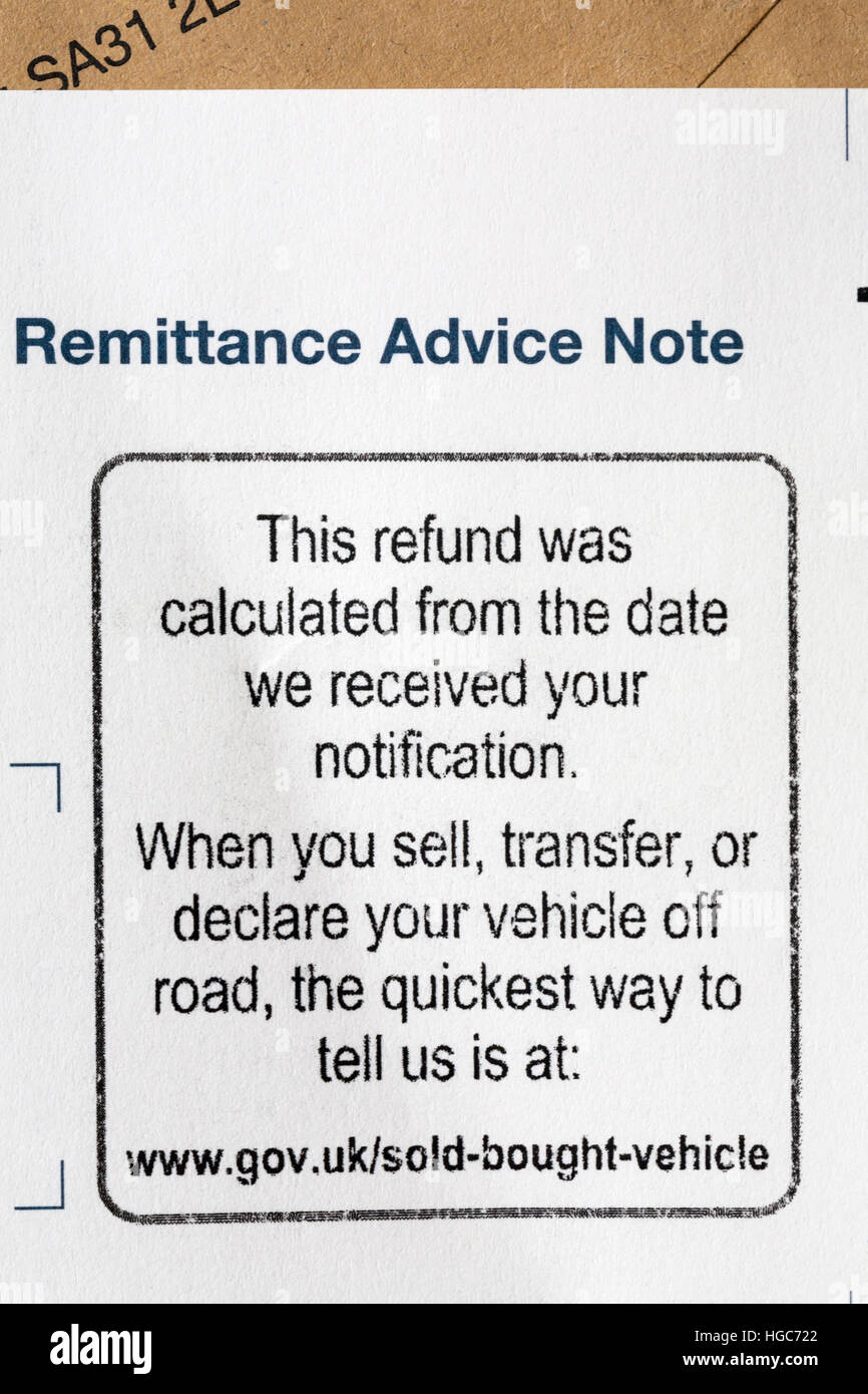 Remittance Advice Note for refund of unused tax on vehicle