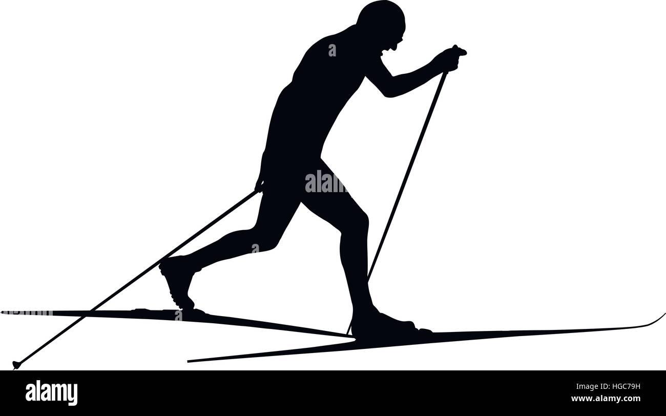 athlete ski racer classic style black silhouette - Stock Vector