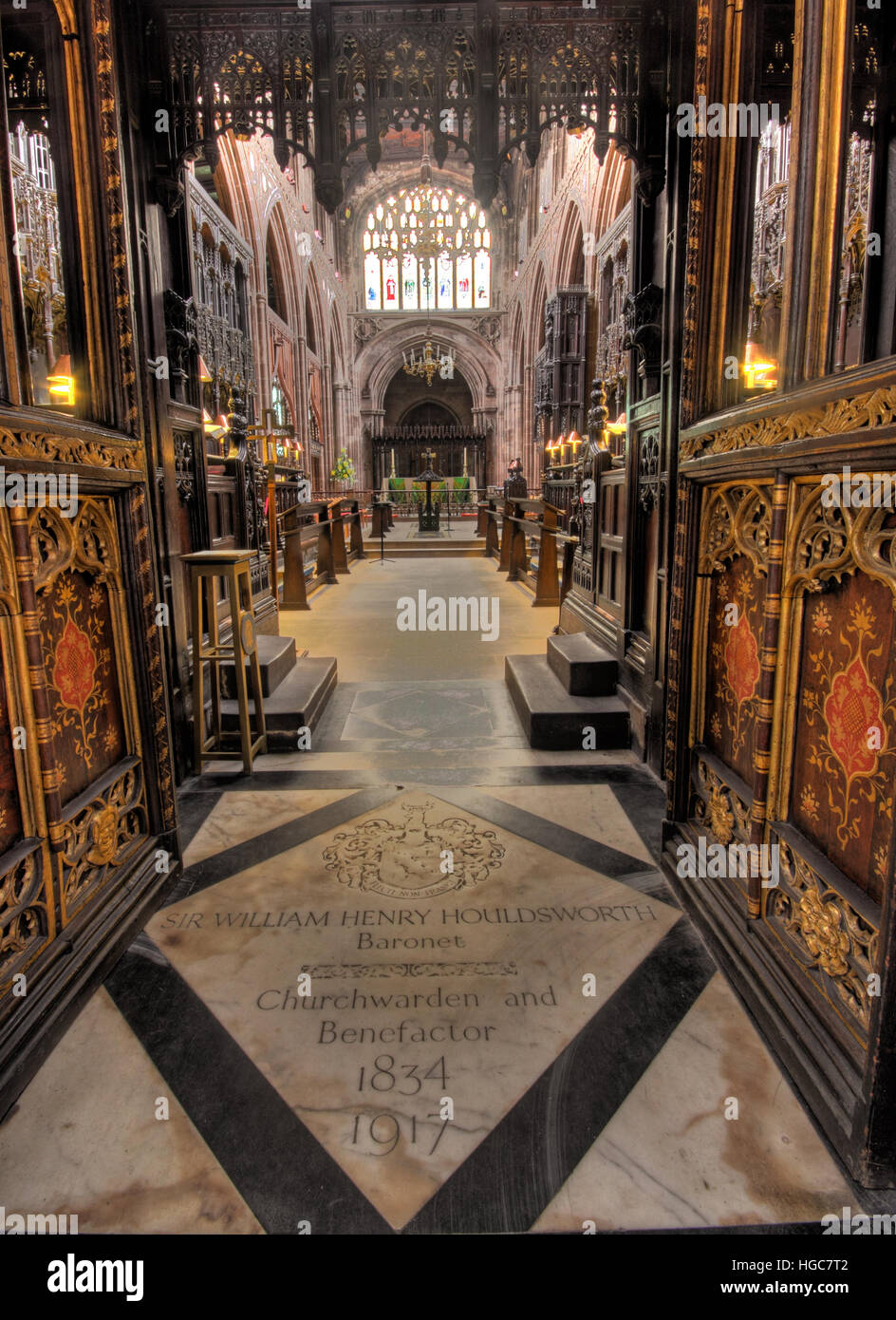 Manchester Cathedral Interior, North West England, UK - Stock Image