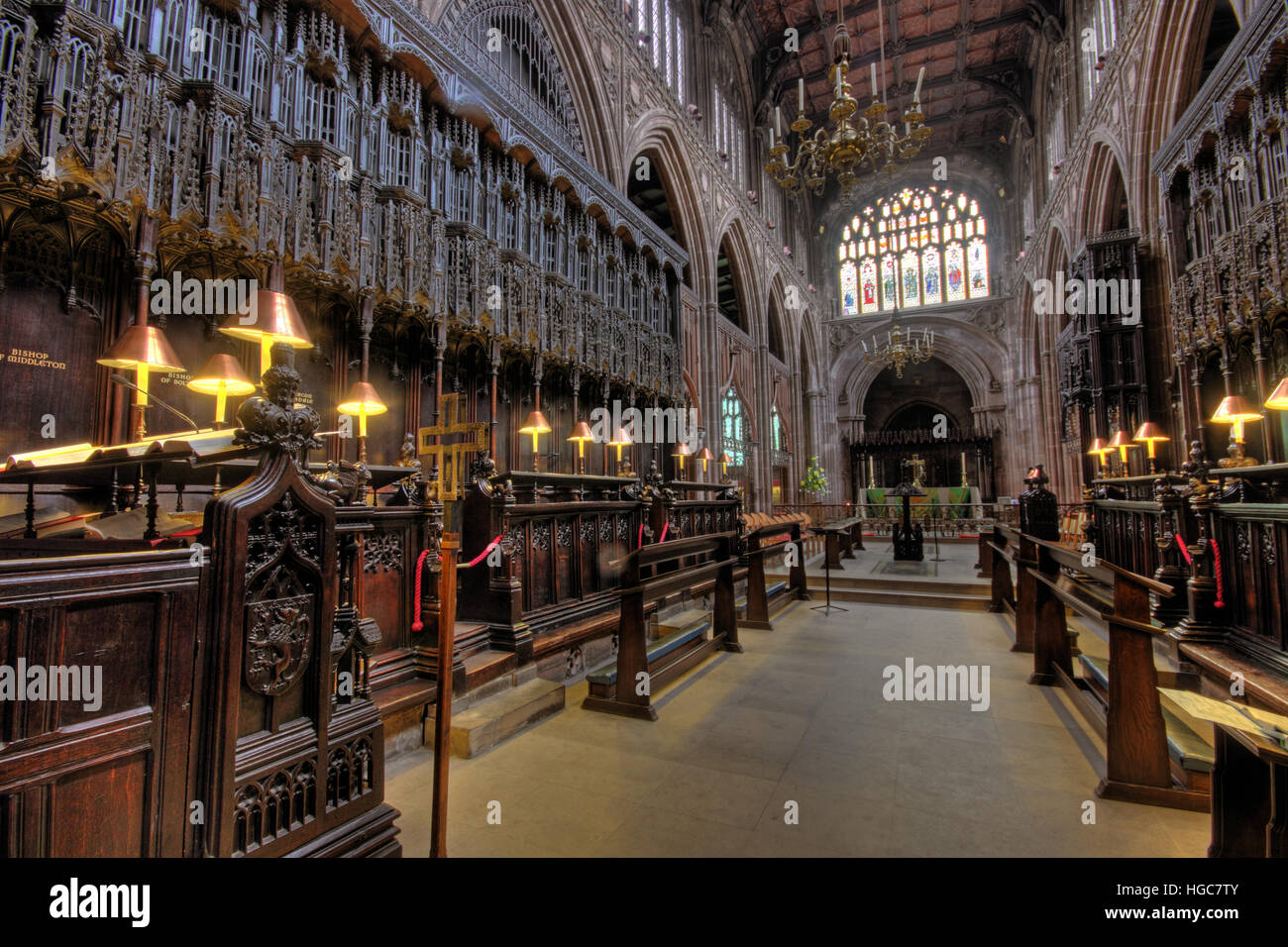 Manchester Cathedral Choir Area, North West England, UK - Stock Image