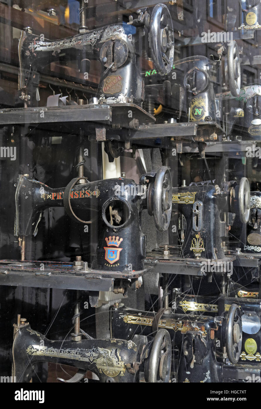 Sewing Machines in Shop window of All Saints Spittalfields - Stock Image