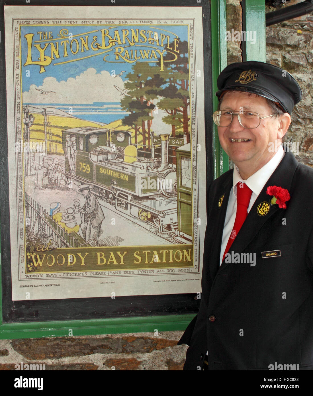 Southern Railway Guard, North Devon, UK - Stock Image