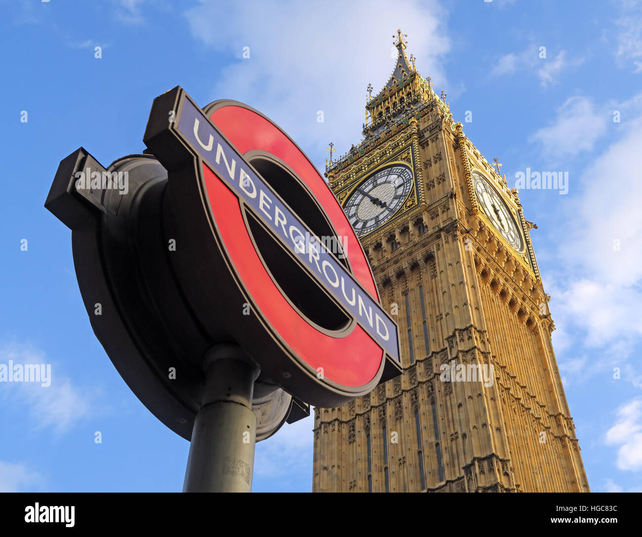 Westminster, icons of London, The Underground and Houses of parliament, England,UK - Stock Image