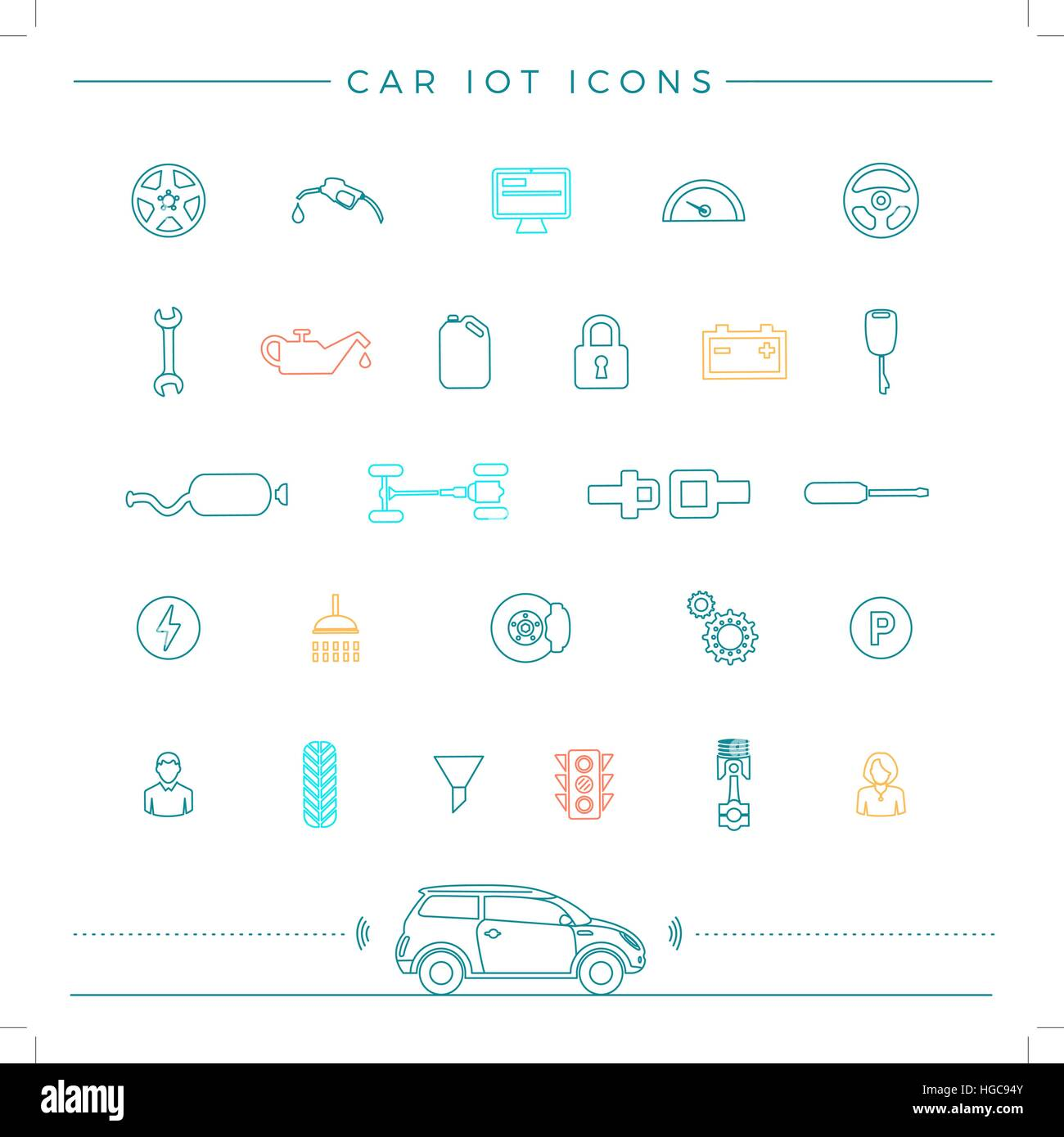 Internet Of Things For The Car Icons - Stock Image