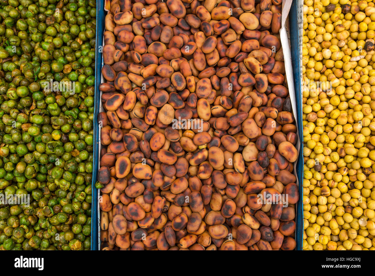 Beans on the Market. Top view Stock Photo