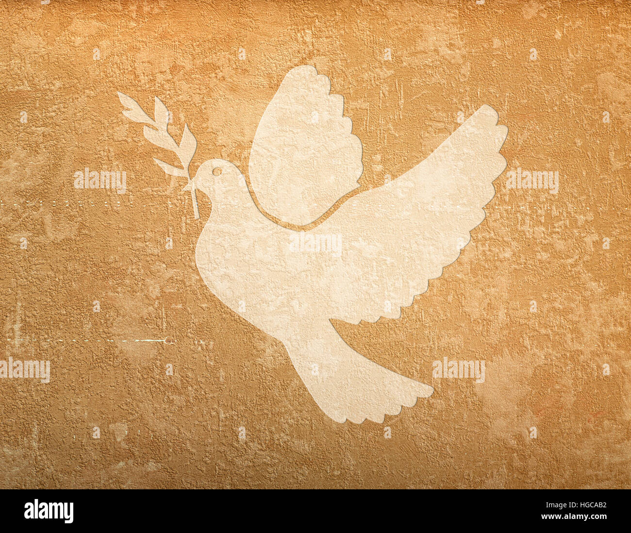 grunge background with space for text and dove shape - Stock Image